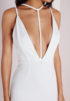 Missguided - T Front Strap Bodycon Dress White