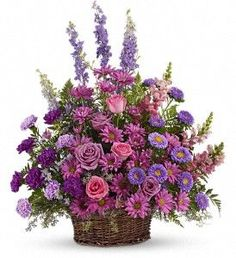 Order Gracious Lavender Basket flower arrangement from Valentin Occasions, your local Easley, SC florist. Send Gracious Lavender Basket floral arrangement throughout Easley, SC and surrounding areas. Funeral Flower Arrangements, Beautiful Flower Arrangements, Funeral Flowers, Beautiful Flowers, Ikebana, Memorial Flowers, Design Floral, Order Flowers Online, Sympathy Flowers