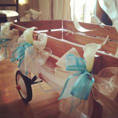 so cute for a party or showerdecorated white wagon Wedding