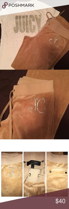 SALE! SALE! 🔥Juicy Couture Shirt&Pant Juicy Couture Shirt and Pant Velour Carmel color Velour pant. JC Logo front left side in silver rhinestone. Black pockets with gold JC hardware/Drawstring on pant has gold JC hardware on end of strings. Shirt is off white JUICY written on front shirt silver/gold rhinestones. Silver rhinestones scattered on front of shirt. Worn both only twice. Selling together because I bought them to be worn together. Good condition/smoke free home/no visible stains on…