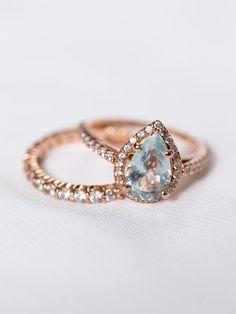 Aquamarine Pear Engagement Ring Pear Cut Halo by DavieandChiyo