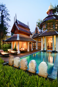 Mandarin Oriental Dhara Dhevi, in Chiang Mai, Thailand. This would be an absolute dream home. I love the beautiful Thai architecture! Home Design, Design Hotel, Floor Design, Style At Home, Beach Paradise, Outdoor Spaces, Outdoor Living, Outdoor Lounge, Outdoor Pool