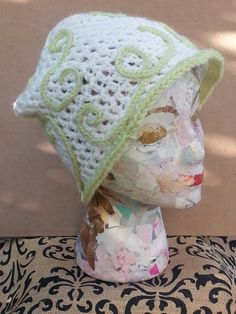 Hand Crochet Spring Hat White Green Women's Teen by LadyLynelle