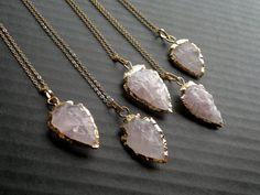 Rose Quartz Arrowhead Necklace Arrowhead Jewelry by SinusFinnicus