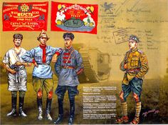 Soldiers and flags of the Russian Civil War