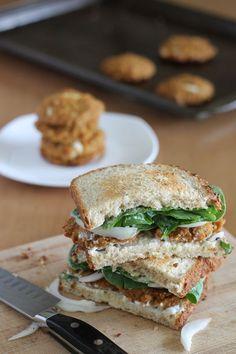 Tofu Veggie Quinoa Patties make a perfect #vegan sandwich.