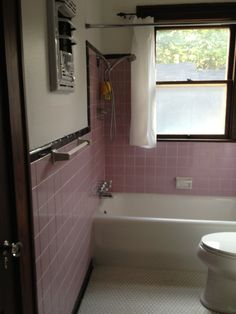 Before: pink and black tile