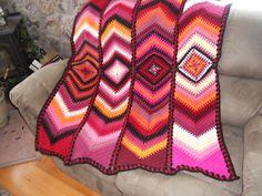 Handmade Crochet Afghan Chevron Panels & Granny Squares Reds Pinks Orange Black