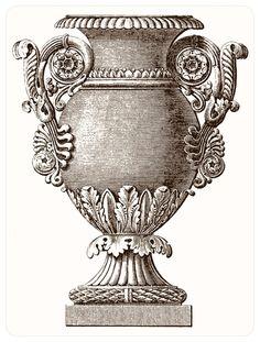 vintage ephemera decorative engraving - gorgeous urn