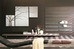 Black and White Painting Wall Art Cherry Blossom Art Elegant Modern Abstract Huge Original Spa Home Decor Custom 56x36. $275.00, via Etsy.