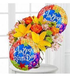 Different Color Flower Bouquet With Happy Birthday Balloons
