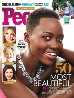 """NEW YORK (AP) -- People magazine has named Lupita Nyong'o as the """"World's Most Beautiful"""" for 2014.The 31-year-old actress, who won a best supporting actress Oscar for her role in """"12 Years a Slave,"""" tops the magazine's list, announced Wednesday.Commenting on being selected for this year's cover, Nyong'o says: """"It was exciting and just a major, major compliment. I was happy for all the girls who would see me on it and feel a little more seen."""""""