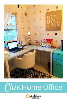 Your home office needs to feel like a retreat. Make sure you have a desk and chair that suit your style. Add in fun gold polka dots and pops of color to create a space you want to work in.