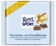 RITTER SPORT Fake Schokolade Würstchen mit Kartoffelsalat