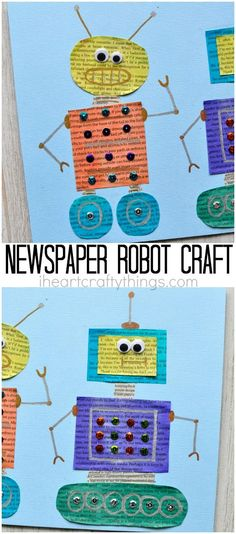 Recycle newspaper and make this painted newspaper robot craft. Fun preschool shapes craft, robot kids craft and kids art project.