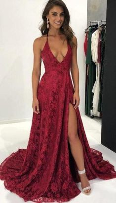 5d14c95e9b Burgundy Deep V Neckline High Split Lace Long Prom Dresses Evening Dresses  Prom