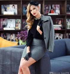 Leather Driving Gloves, Leather Gloves, Gloves Fashion, Office Outfits, Skirt Suit, Suits For Women, Interview, Glamour, Female