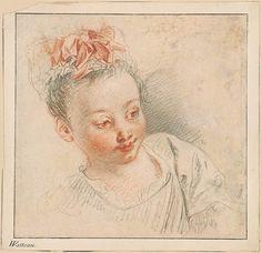 Antoine Watteau   Cabeza de muchacha en Cap   Dibujos Online   El Morgan Library…