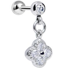 Clear Cubic Zirconia Spring Flower Dangle Tragus Cartilage Earring | Body Candy Body Jewelry
