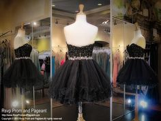 This super cute short homecoming dress features a lace sweetheart bodice with a waistband beaded with iridescent AB stones. The skirt has multiple layers of tulle for a full effect. Available in black and it's at Rsvp Prom and Pageant, your Atlanta Prom Store!