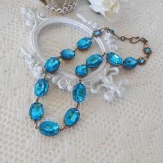 Anna Wintour, Blue Necklace, Blue Zircon Necklace, Blue Collet, Choker, Old Hollywood, Glass Jewel Necklace, Estate Style Jewelry, Art Nouveau, Art Deco Necklace by LisamariesPiece