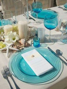 Picture of romantic beach wedding table settings Beach Wedding Tables, Blue Beach Wedding, Wedding Table Settings, Place Settings, Beach Weddings, Seaside Wedding, Themed Weddings, Destination Weddings, Beach Table Settings