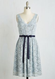 Hamptons of Fun Dress - Blue, Solid, Wedding, Bridesmaid, A-line, Sleeveless, Woven, Lace, Better, Mid-length, Prom, Party, Homecoming
