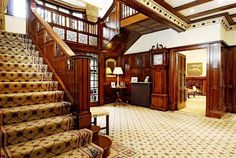 Old manor interior foyer English Architecture, Somewhere In Time, Old English, Dream Decor, Staircases, Writing Inspiration, Hallways, Old Houses, Foyer
