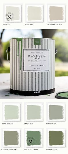 This collection of Magnolia Home Paint from designer Joanna Gaines  offers a huge variety of colors for all of your home remodeling needs. Use this calming green color palette for your mudroom or entryway. No matter what your style, Magnolia and KILZ have the perfect paint and primer for you.
