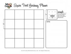 printable grid for square foot gardens.  many other great printables for gardens.  AWESOME TOOL.