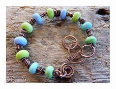 Springtime Adjustable Bangle with large chain 15€ #jewellery #jewelry #lampwork #wirework #handmade