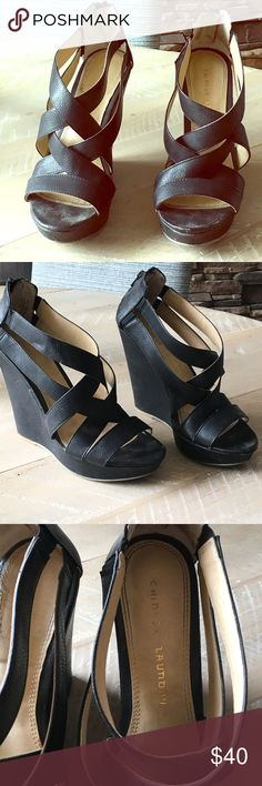 """Chinese Laundry black story wedges as 8.5 These wedges are great for summer. They sip up in the back. Made of leather and about 4"""" heel with a 1"""" platform. Super comfortable. Chinese Laundry size 8.5. Fit true to size. Chinese Laundry Shoes Wedges"""