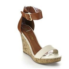 DIVIANA KEALIE30 Womens Two Tone Cork Platform Ankle Strap Wedge SandalsCAMEL NUDE9 * Read more reviews of the product by visiting the link on the image.