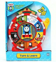 Thomas the Tank Engine Turn and Learn Talking Toy by Schylling. $17.95. Perfect for kids 18 months and up. Includes 2 AA batteries. Measures approximately 8 inches in height. Features Thomas The Tank Turn and Learn Toy and says 19 different phrases. Makes a perfect child's gift. Thomas The Tank Turn and Learn Toy says 19 different phrases and is for kids 18 months and up. This toy measures approximately 8 inches in height and comes with 2 AA batteries.