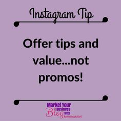 Instagram Tip: Offer tips and value...NOT promos. If you look at my Instagram page there are a lot of tips and value within my niche. You will never see me pushing products or opportunities in my posts. This will get you more targeted and regular followers and will gain curiosity about what you have to offer. So therefore no more chasing. They are now asking me what I do?!     Want to learn more about building your business using Instagram? Or want to work closely with me? Click the link in…