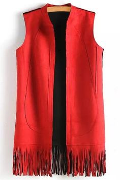 Solid Color Tassels Stand Neck Waistcoat