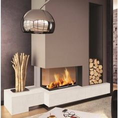 ONLY interested in the Color scheme used on fireplace wall! Rodda's Blue Jay on the chase with Rodda's Lavender on the fireplace wall and base of fireplace. House Design, Home, Home Fireplace, Fireplace Design, House Interior, Home Deco, Modern Fireplace, Pinterest Living Room, Home Interior Design