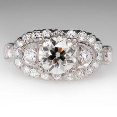1.17 Carat Old European Cut Antique Diamond Ring