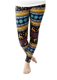 Mojessy Women Christmas Graphic Print Winter Seamless Stretchy Skinny Leggings Pants