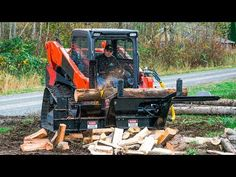 Product demonstration of the Halverson with the splitter processing logs with an average time of less than one minute per log. Firewood Processor, Welding Flux, Magazine Pictures, Wood Cutting, Heavy Equipment, Fire Wood, Make It Simple, Youtube, Cabin Ideas