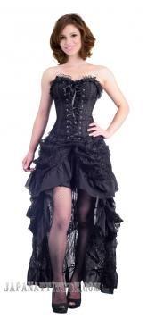 6d3e23b7f28 Robe corset noire jupe en dentelle buslesque élégant victorien Corset Noir
