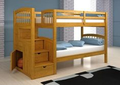Wooden bunk beds ideas, stairs with storage, twitn bed plans bedroom ideas. Smart plans for bunk beds with stairs. Bed Stairs, Bunk Beds With Stairs, Cool Bunk Beds, Kids Bunk Beds, Loft Beds, Stairs Master, Childrens Bunk Beds, Childrens Bedroom, Loft Bed Plans