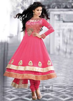 Pink georgette layered anarkali suit