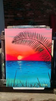 This is a x oil on canvas painting by Eric H. Name: The Sun is Sinking. Diy Art Painting, Abstract Art Painting, Canvas Drawings, Simple Canvas Paintings, Nature Art Painting, Amazing Art Painting, Painting Art Projects, Canvas Art Painting, Cute Canvas Paintings
