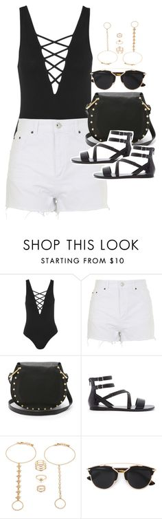"""""""Outfit for a music festival in summer"""" by ferned ❤ liked on Polyvore featuring Topshop, Cynthia Rowley, Forever 21 and Christian Dior"""