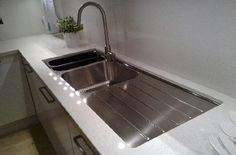 undermount kitchen sinks | undermount sink with stainless steel draining board