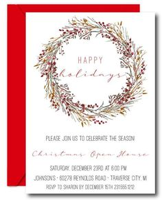 Choose affordable Berries Christmas invitations in a DIY digital template or printed format. today to order your invites. Christmas Party Invitations, All Holidays, White Envelopes, Stuff To Do, Party Planning, Invites, Thank You Cards, Card Stock, Berries