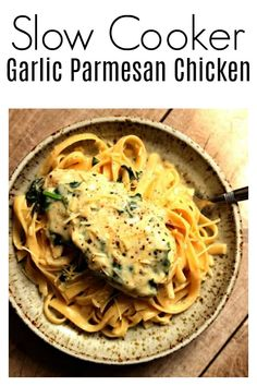 Instant Pot Garlic Parmesan Chicken–a fast and easy chicken dinner with a creamy garlic parmesan sauce with chopped spinach. We like to eat this chicken and sauce with fettuccine noodles or with mashed potatoes. (recipes with chicken and potatoes) Instant Pot Pressure Cooker, Pressure Cooker Recipes, Pressure Cooking, Slow Cooking, Cooking Fish, Garlic Parmesan Chicken, Parmesan Sauce, Slow Cooked Chicken, Instant Pot Dinner Recipes