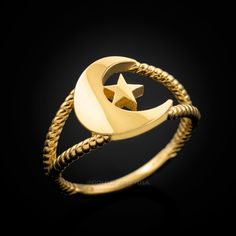Available in & gold purity. Top width: Bottom band width: Weight: g. Gold Rings Jewelry, Jewelery, Religious Jewelry, Dainty Ring, Yellow Gold Rings, Jewelry Collection, Islamic, Moon, Candy