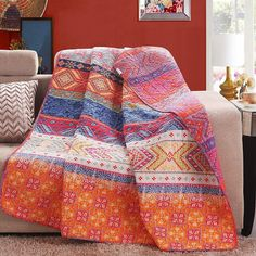 50*60inch 100% Cotton Multicolored Boho Stripe Quilted Throw Blanket #Unbranded